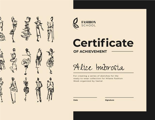 Modèle de visuel Fashion School course Achievement in Pink - Certificate