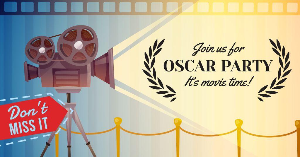 Oscar Party announcement with Film Projector — Modelo de projeto