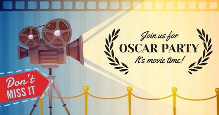 Oscar Party announcement with Film Projector Facebook AD Modelo de Design