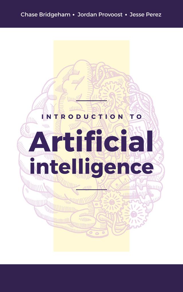 Artificial Intelligence Concept Brain Model Book Cover Design Template