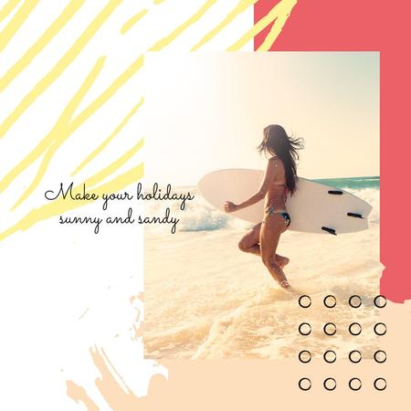 Woman with surfboard at the beach Instagram Modelo de Design