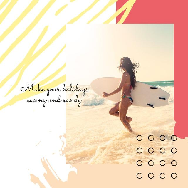 Woman with surfboard at the beach Instagram Design Template