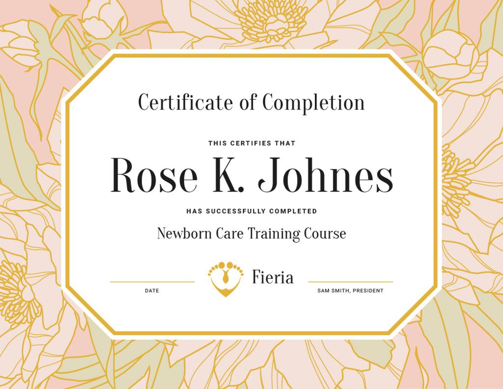 Newborn Care Training Course completion in flowers frame — Створити дизайн