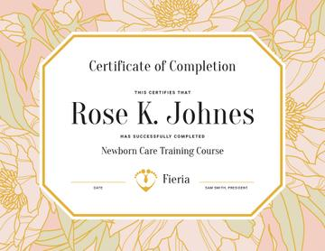Newborn Care Training Course completion in flowers frame