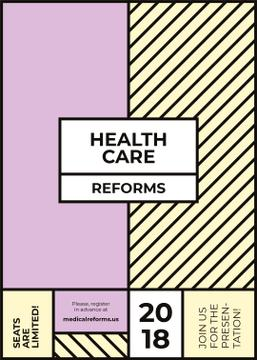 Healthcare conference announcement on minimalistic geometric pattern
