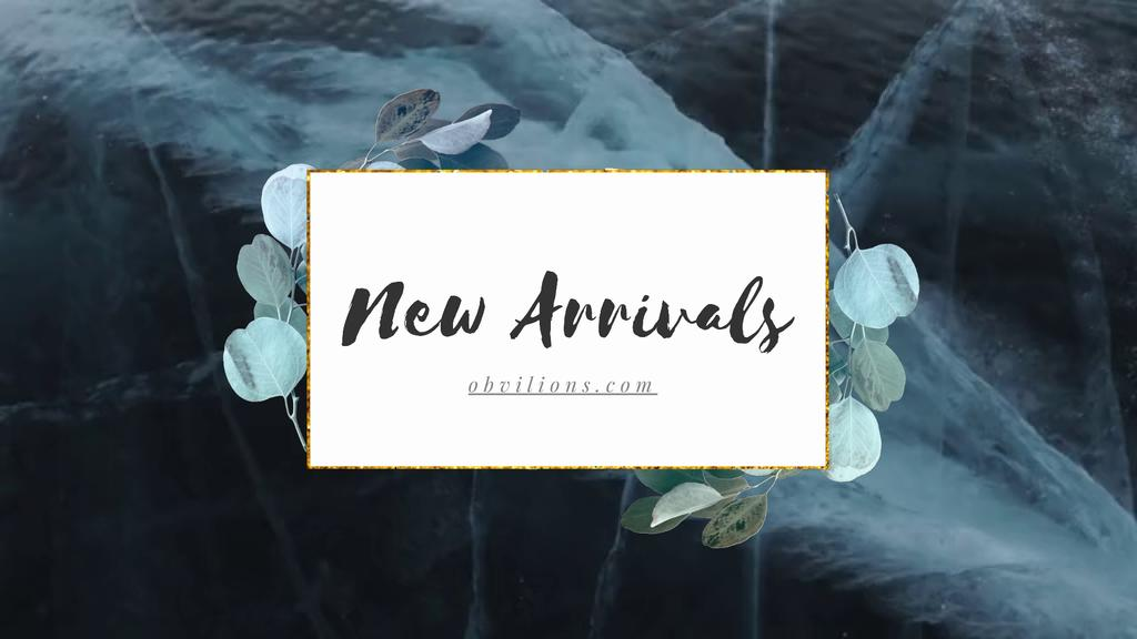New Arrivals Ad Green Leaves Frame — Crear un diseño