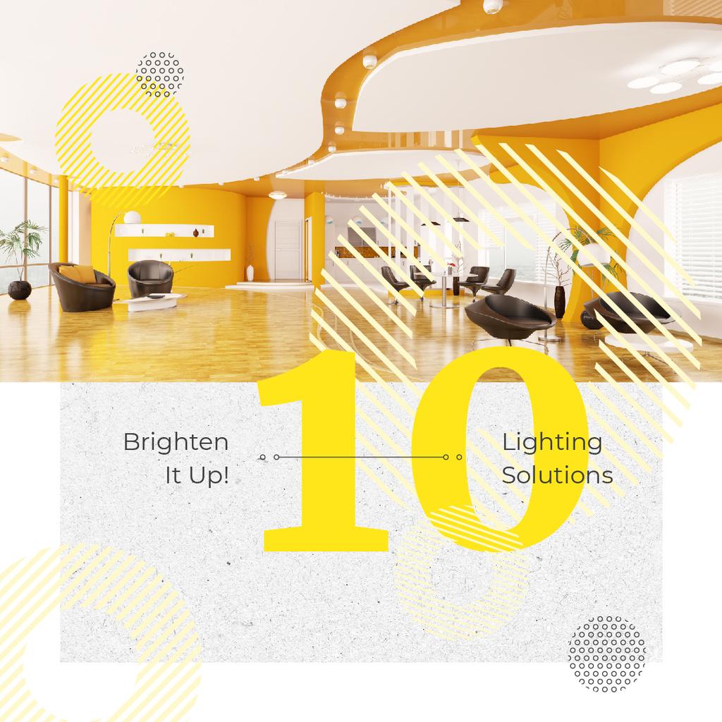 Cozy interior in yellow colors — Maak een ontwerp
