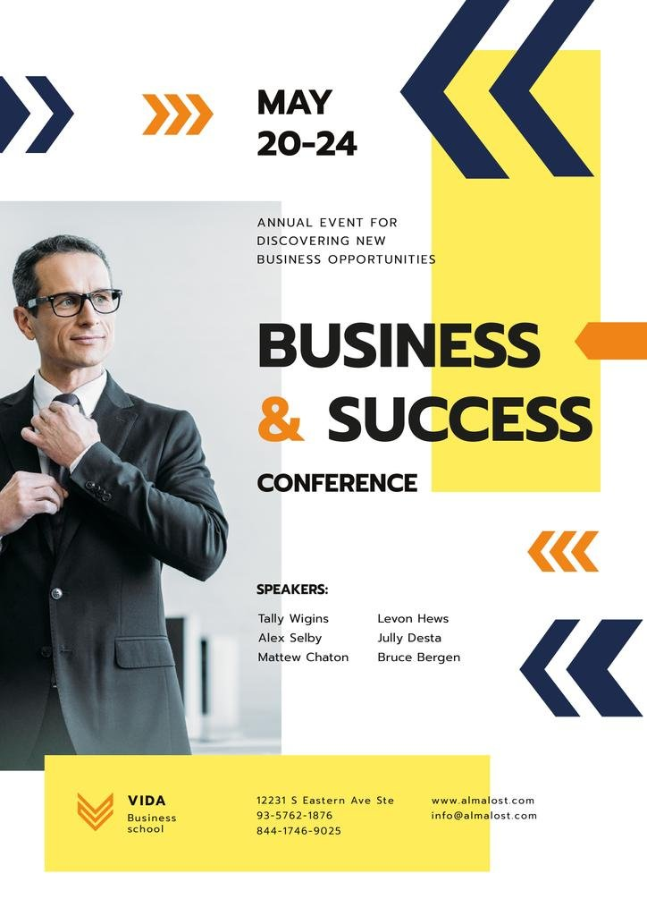 Business Conference Announcement with Confident Man in Suit — Create a Design