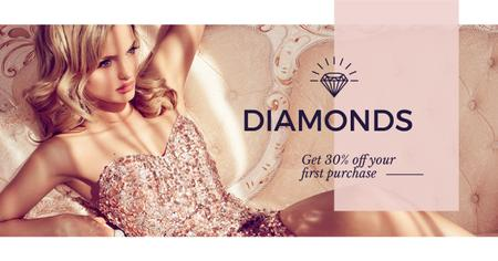 Ontwerpsjabloon van Facebook AD van Jewelry Ad with Woman in shiny dress