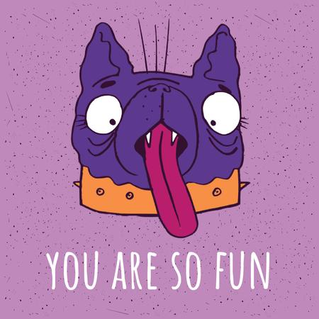 Silly Dog Showing Tongue in Purple Animated Post Design Template