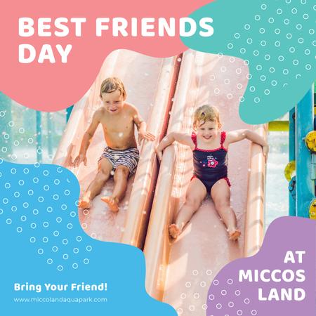Best Friends Day offer with Kids at amusement park Instagram AD Design Template