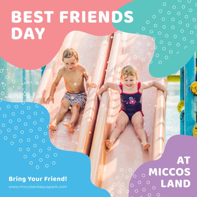 Best Friends Day offer with Kids at amusement park Instagram AD Modelo de Design