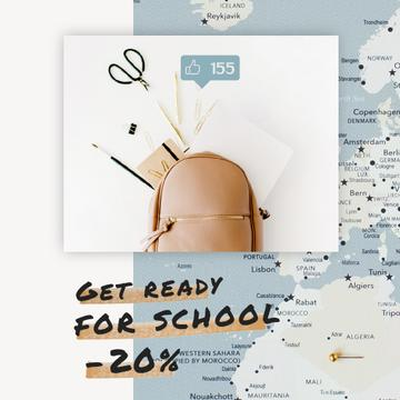 Back to School Sale Stationery in Backpack over Map | Square Video Template