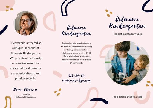 Kindergarten Ad Brochure With Kids Playing On Floor Brochure