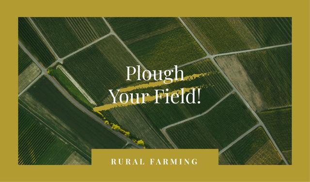 Designvorlage Green farmland view in Yellow Frame für Business card