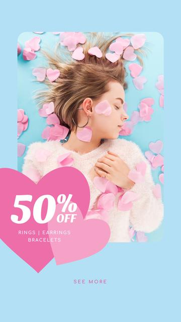 Template di design Jewelry Sale Woman in Pink Hearts Instagram Story