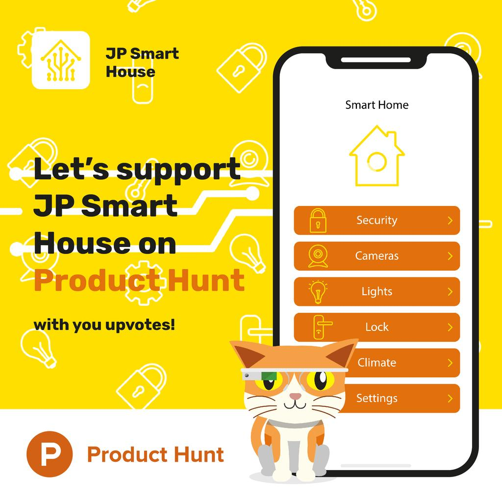 Product Hunt Launch Ad with Smart Home App — Створити дизайн