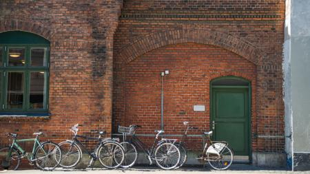 Plantilla de diseño de Authentic building with bicycle parking Zoom Background