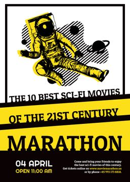 Sci-fi movies marathon poster with spaceman