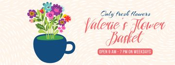 Bright Bouquet of Flowers in Cup | Facebook Video Cover Template