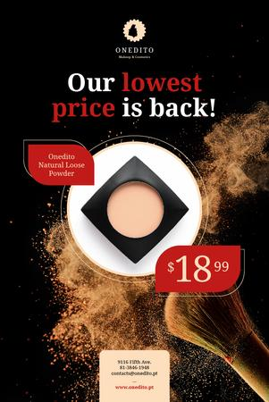 Szablon projektu Cosmetics Sale with Brush and Face Powder Pinterest