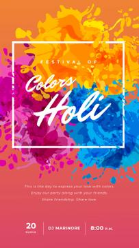 Indian Holi Festival Greeting Colorful Frame | Vertical Video Template
