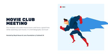 Movie Club Meeting Man in Superhero Costume Image Modelo de Design