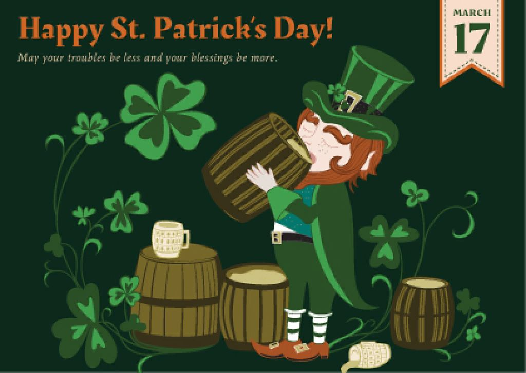 St. Patrick's day greeting card Postcard Design Template