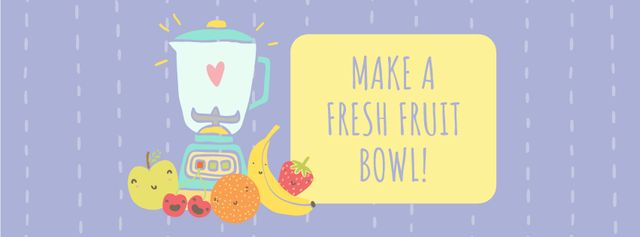 Plantilla de diseño de Raw Fruits with Kitchen Blender Facebook cover