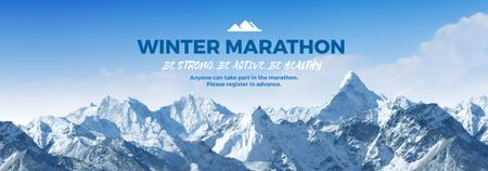 Plantilla de diseño de Winter Marathon Announcement Snowy Mountains Tumblr