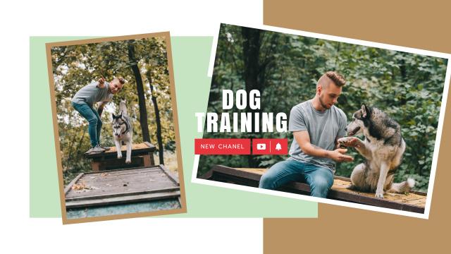 Dog Training Guide Man with Husky Youtube Modelo de Design