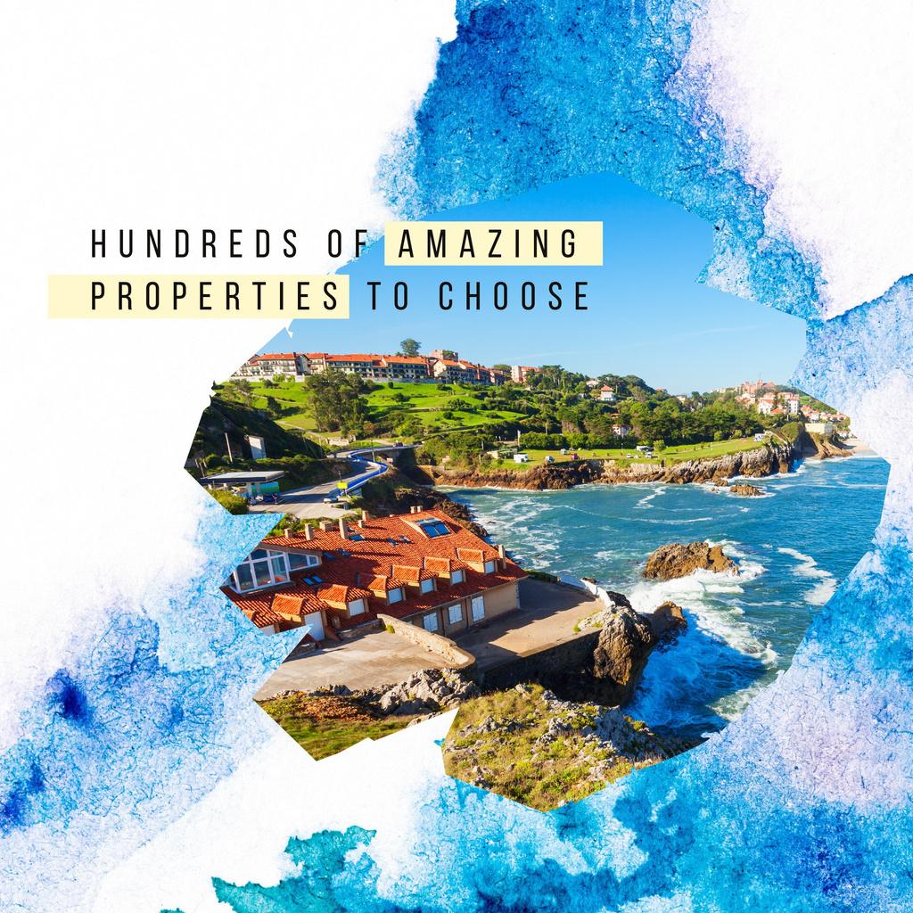 Houses at sea coastline —デザインを作成する