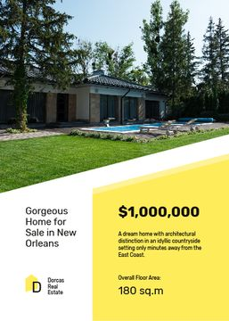 Real Estate Offer Residential Modern House with Pool | Flyer Template