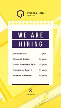 We Are Hiring Offer on Working Table in Yellow | Stories Template