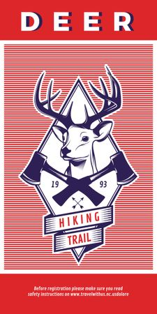 Plantilla de diseño de Hiking Trail Ad Deer Icon in Red Graphic