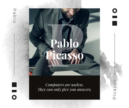 Plantilla de diseño de Computers Quote Businessman working on Laptop Facebook