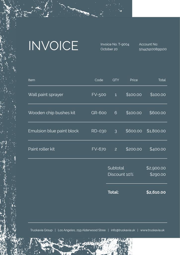 Szablon projektu Painting Materials Retail on Graphic Pattern Invoice