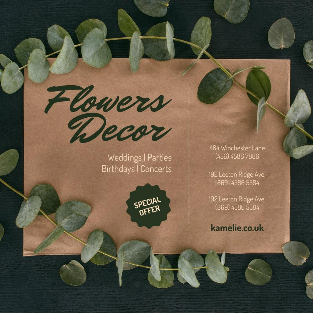 Plantilla de diseño de Flowers Decor Studio Ad Leaves Frame Instagram