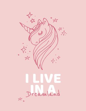 Plantilla de diseño de Childhood Dreams inspiration with Unicorn T-Shirt