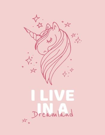 Designvorlage Childhood Dreams inspiration with Unicorn für T-Shirt