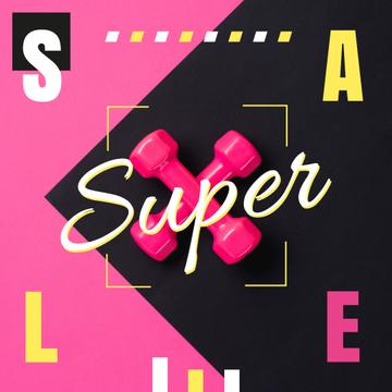 Super Sale Ad with Pair of pink dumbbells
