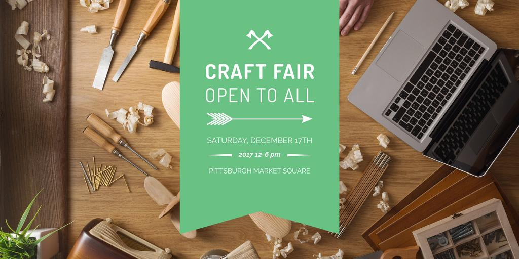 Craft fair Announcement with Laptop — Modelo de projeto