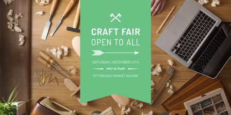 Modèle de visuel Craft fair Announcement with Laptop - Twitter