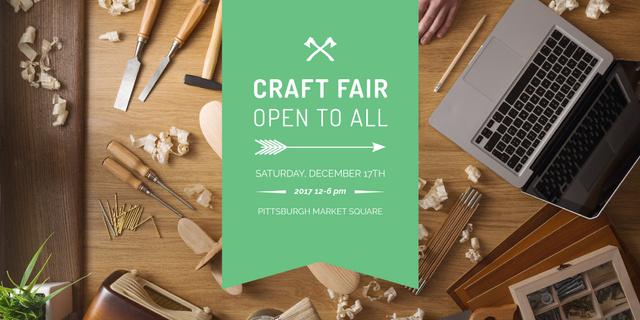 Plantilla de diseño de Craft fair Announcement with Laptop Twitter