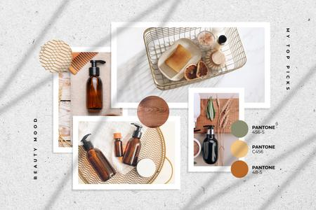Natural Cosmetics in glass bottles Mood Board – шаблон для дизайна