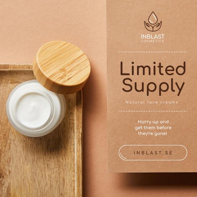 Cosmetics Sale Natural Face Cream Jar Instagram – шаблон для дизайна