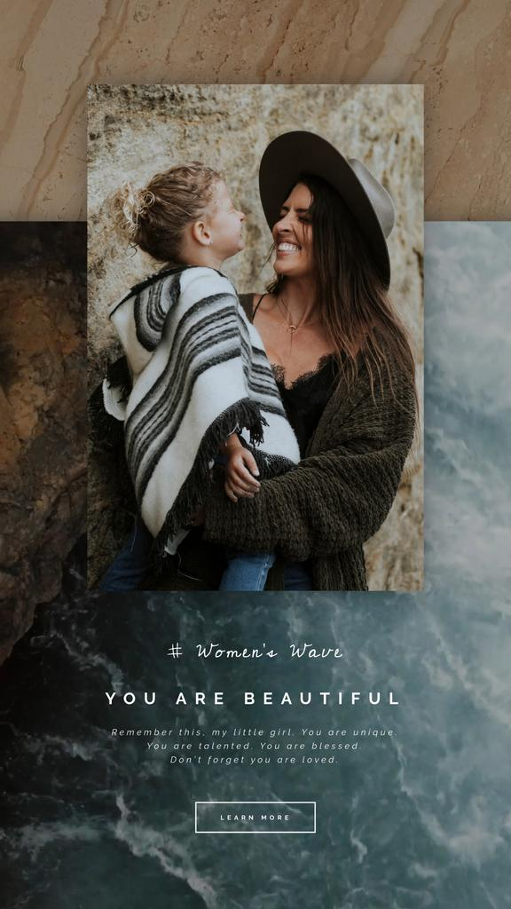 8 March Greeting Child Girl with Her Mother | Vertical Video Template — ein Design erstellen
