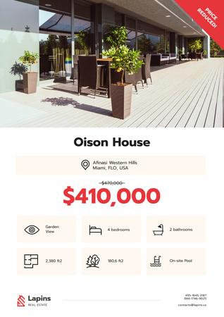 Plantilla de diseño de Real Estate Ad with Modern House Facade Poster