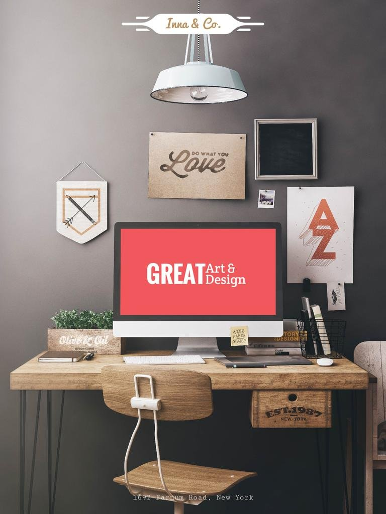 Design Agency Ad Computer Screen on Working Table — Створити дизайн