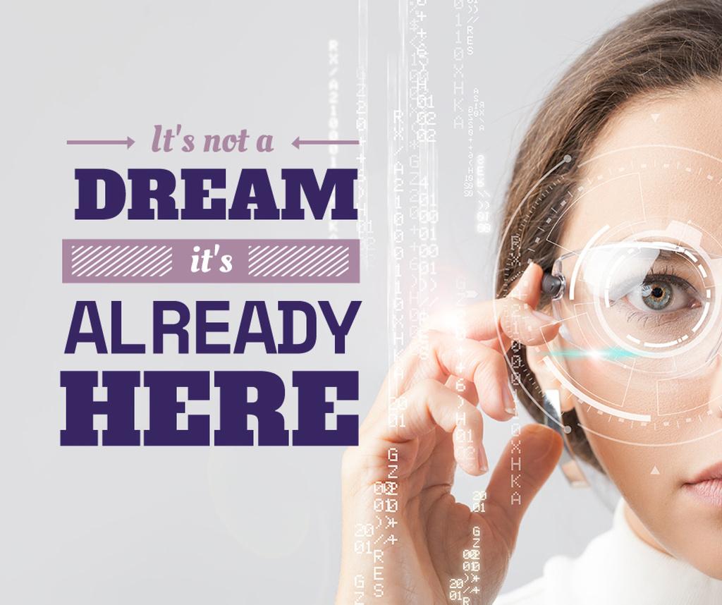 Technology Inspiration Woman using smart glasses — Crear un diseño